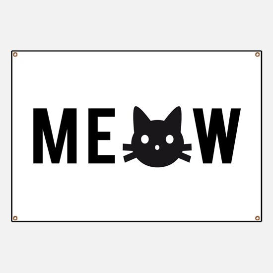 Meow, with black cat face Banner