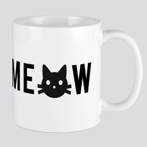 Meow, with black cat face Mugs