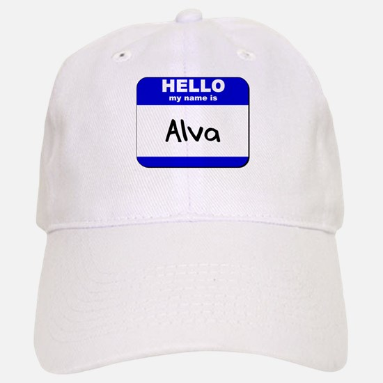 hello my name is alva Baseball Baseball Cap