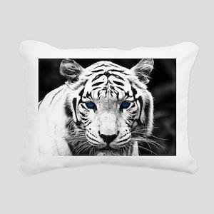 White Tiger Blue Eye Rectangular Canvas Pillow
