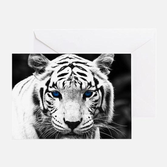 White Tiger Blue Eye Greeting Card