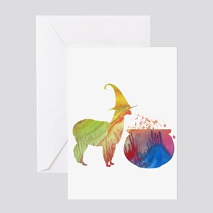 Witch llama Greeting Cards