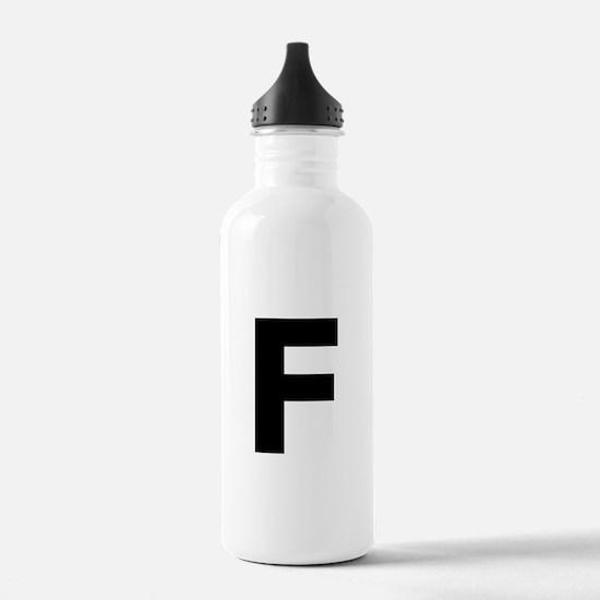 Letter F Black Water Bottle