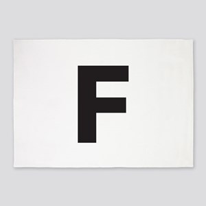 Letter F Dark Gray 5'x7'Area Rug