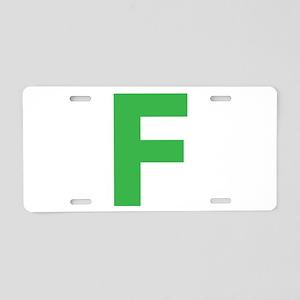 Letter F Green Aluminum License Plate