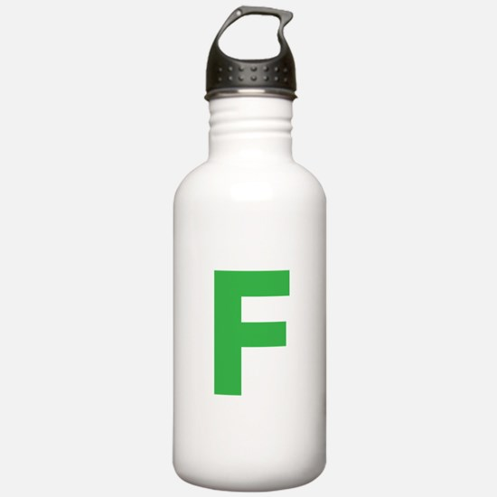 Letter F Green Water Bottle