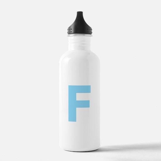 Letter F Light Blue Water Bottle