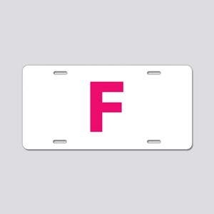 Letter F Pink Aluminum License Plate