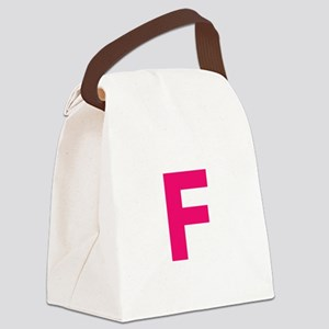 Letter F Pink Canvas Lunch Bag