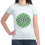 Celtic Clover Mandala Jr. Ringer T-Shirt