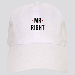 Mr right text design with red hearts Baseball Cap