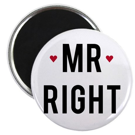 Mr right text design with red hearts Magnets