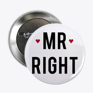 "Mr right text design with red hearts 2.25"" Button"