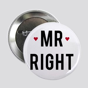 """Mr right text design with red hearts 2.25"""" Button"""