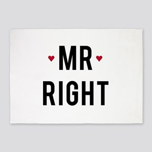 Mr right text design with red hearts 5'x7'Area Rug