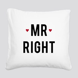 Mr right text design with red hearts Square Canvas