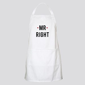 Mr right text design with red hearts Apron