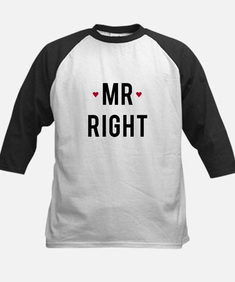 Mr right text design with red hearts Baseball Jers