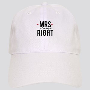 Mrs. always right text design with red hearts Base