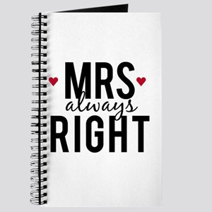 Mrs. always right text design with red hearts Jour