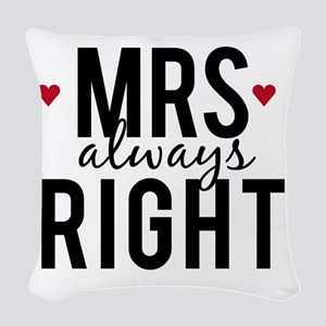 Mrs. always right text design with red hearts Wove