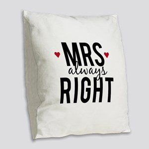 Mrs. always right text design with red hearts Burl