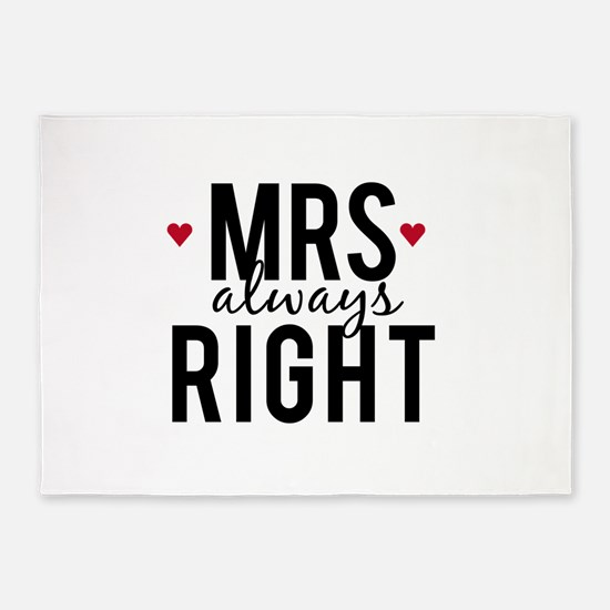 Mrs. always right text design with red hearts 5'x7