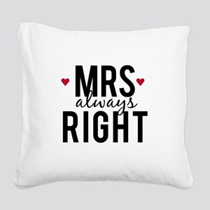 Mrs. always right text design with red hearts Squa