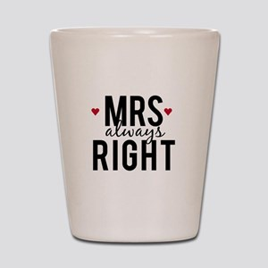 Mrs. always right text design with red hearts Shot