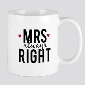 Mrs. always right text design with red hearts Mugs