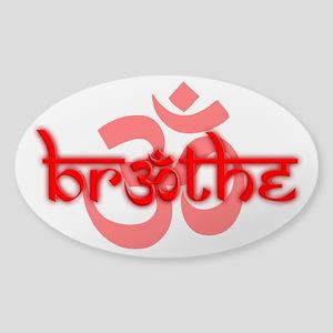 (Red) Breathe With Om Sticker (Oval) Sticker (Oval