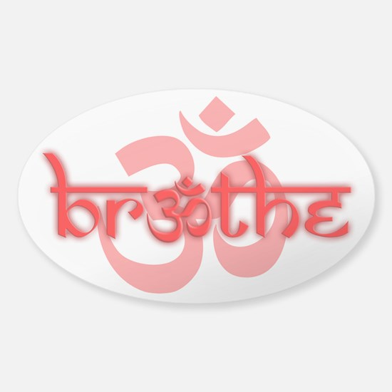 (Red) Breathe With Om Sticker (Oval) Sticker (Oval