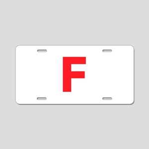 Letter F Red Aluminum License Plate