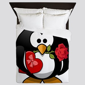 Valentines Day Penguin Queen Duvet
