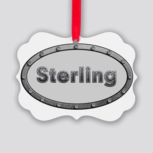Sterling Metal Oval Ornament