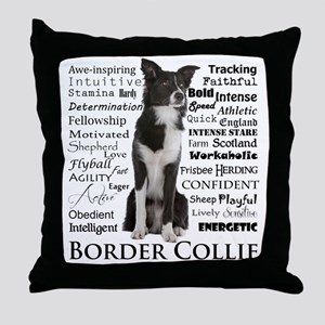 Border Collie Traits Throw Pillow