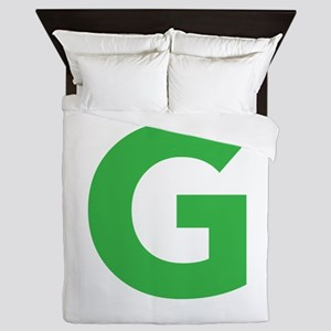 Letter G Green Queen Duvet
