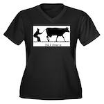Ski Iowa Women's Plus Size V-Neck Dark T-Shirt