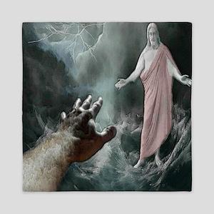 Jesus Walks On The Water Queen Duvet