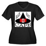 Black Hat Cafe Women's Plus Size V-Neck Dark T-Shi