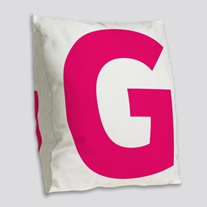 Letter G Pink Burlap Throw Pillow