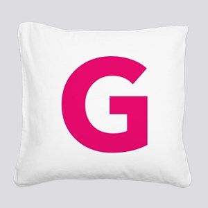 Letter G Pink Square Canvas Pillow