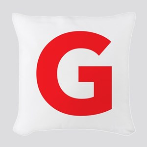 Letter G Red Woven Throw Pillow