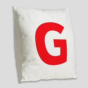 Letter G Red Burlap Throw Pillow