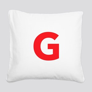 Letter G Red Square Canvas Pillow