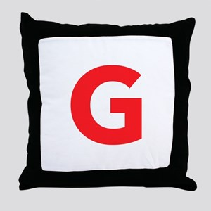 Letter G Red Throw Pillow