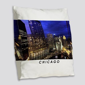 Chicago Cityscape Burlap Throw Pillow