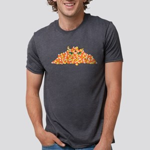 Candy Corn Cat Mens Tri-blend T-Shirt