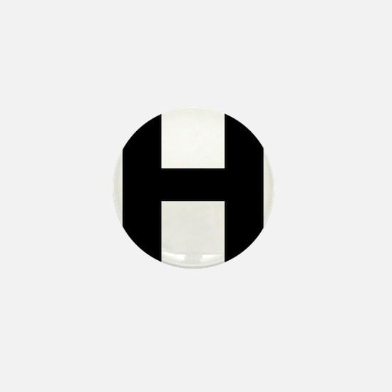Letter H Black Mini Button