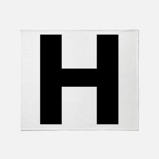 Letter H Black Throw Blanket